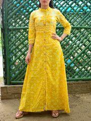 Mal Cotton Dress with Dabu Print- Yellow