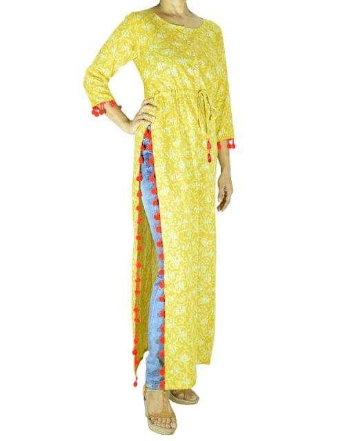 Cotton Long Kurta with Dabu Print- Yellow