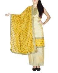 Phulkari Handembroidered Suit in Chanderi Cotton Silk- Beige&Black