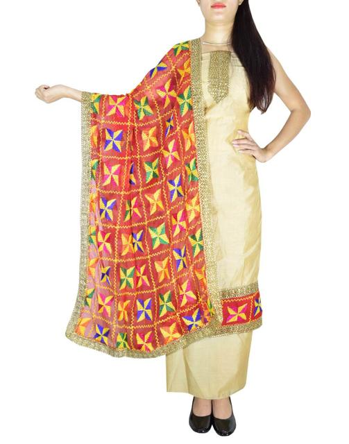 Phulkari Handembroidered Suit in Chanderi Cotton Silk- Beige&Red