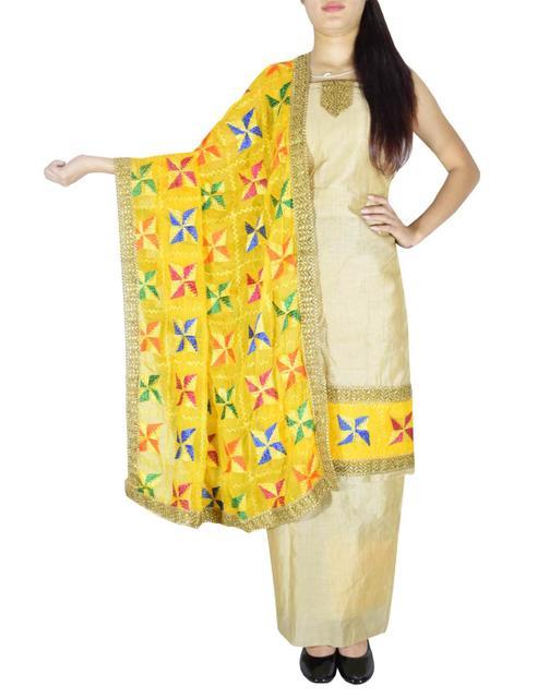Phulkari Handembroidered Suit in Chanderi Cotton Silk- Beige&Yellow 1