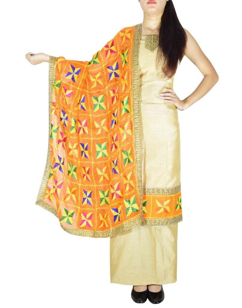 Phulkari Handembroidered Suit in Chanderi Cotton Silk- Beige&Orange