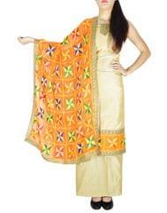 Phulkari Handembroidered Suit in Chanderi Cotton Silk- Beige&Orange