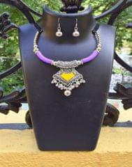 Oxidized Metal Hansuli Set Colored-Purple&Yellow