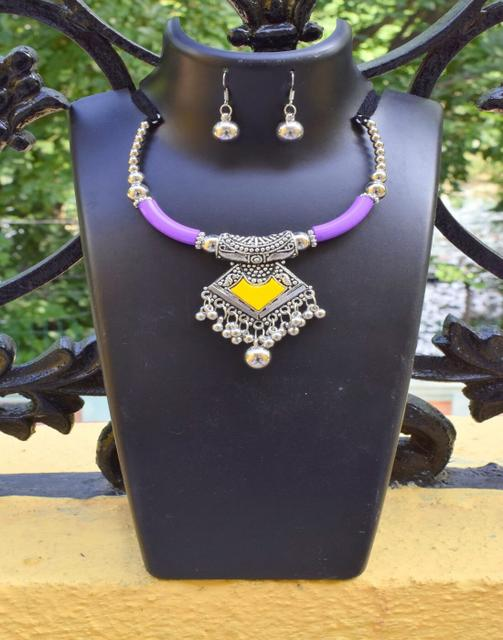 Oxidized Metal Hansuli Set Colored-Purple&Yellow