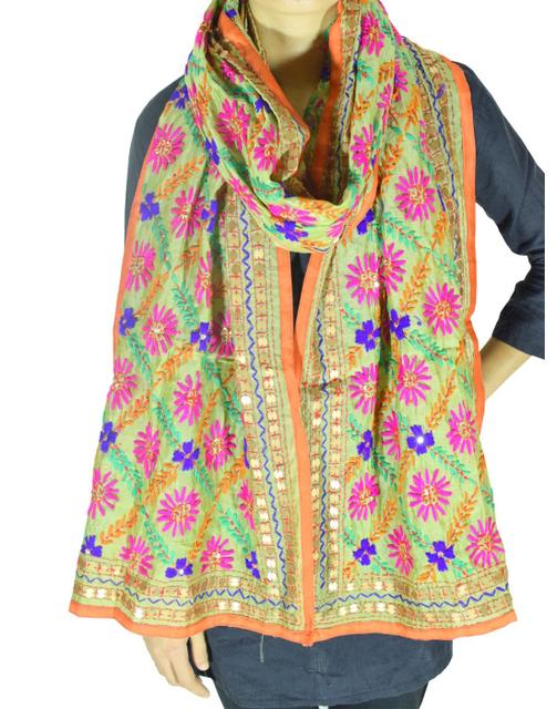 Phulkari Chanderi Cotton Silk Stole -Light Olive Green