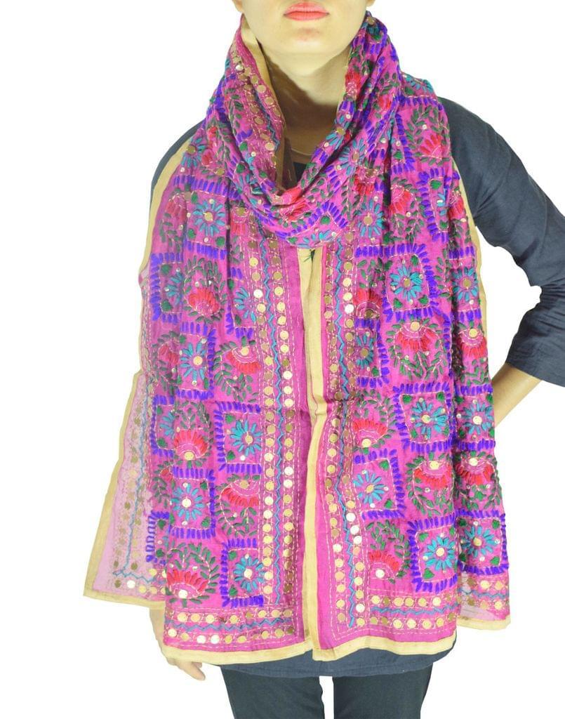 Phulkari Chanderi Cotton Silk Stole -Pink