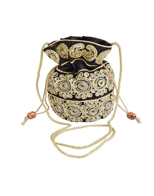 Potli Bag in Satin with Embroidery- Black