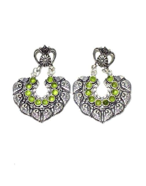 Oxidized Metal Earrings with Stones- Green