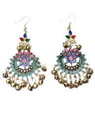Afghani Earrings in Alloy Metal- Meenakari Work