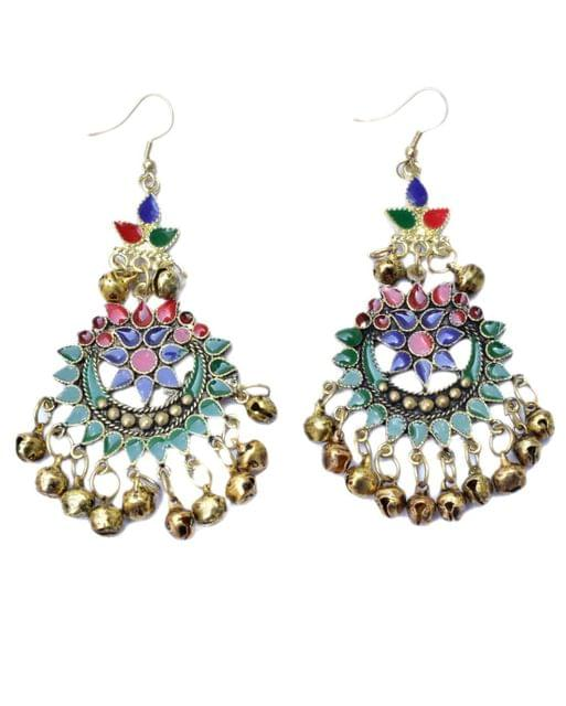 Afghani Earrings in Alloy Metal- Meenakari Work