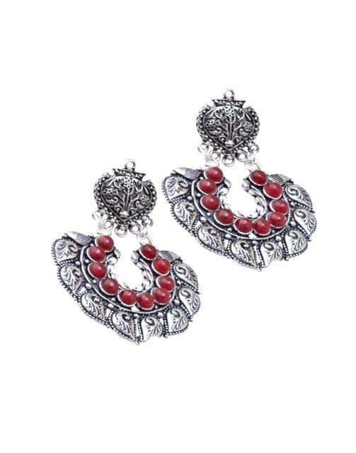 Oxidized Metal Earrings with Stones- Red