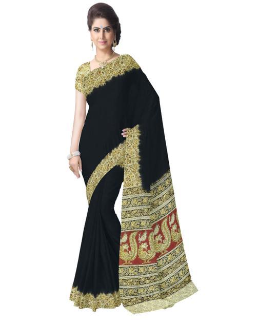 Kalamkari Saree in Cotton-Black