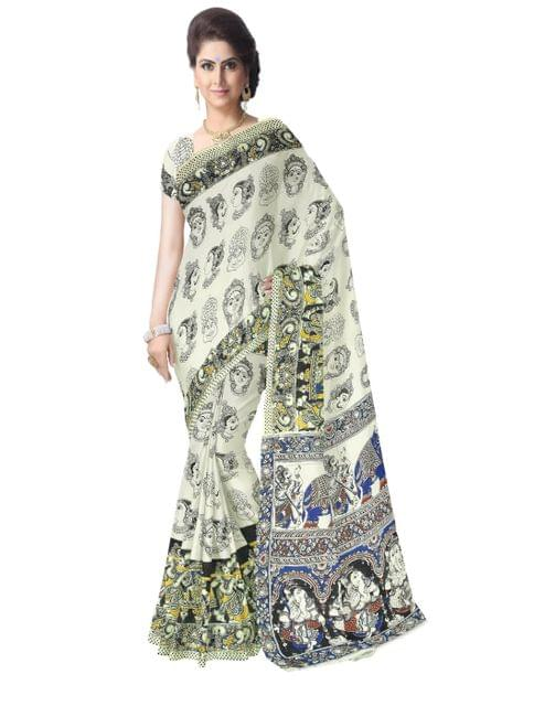 Kalamkari Saree in Cotton-Cream