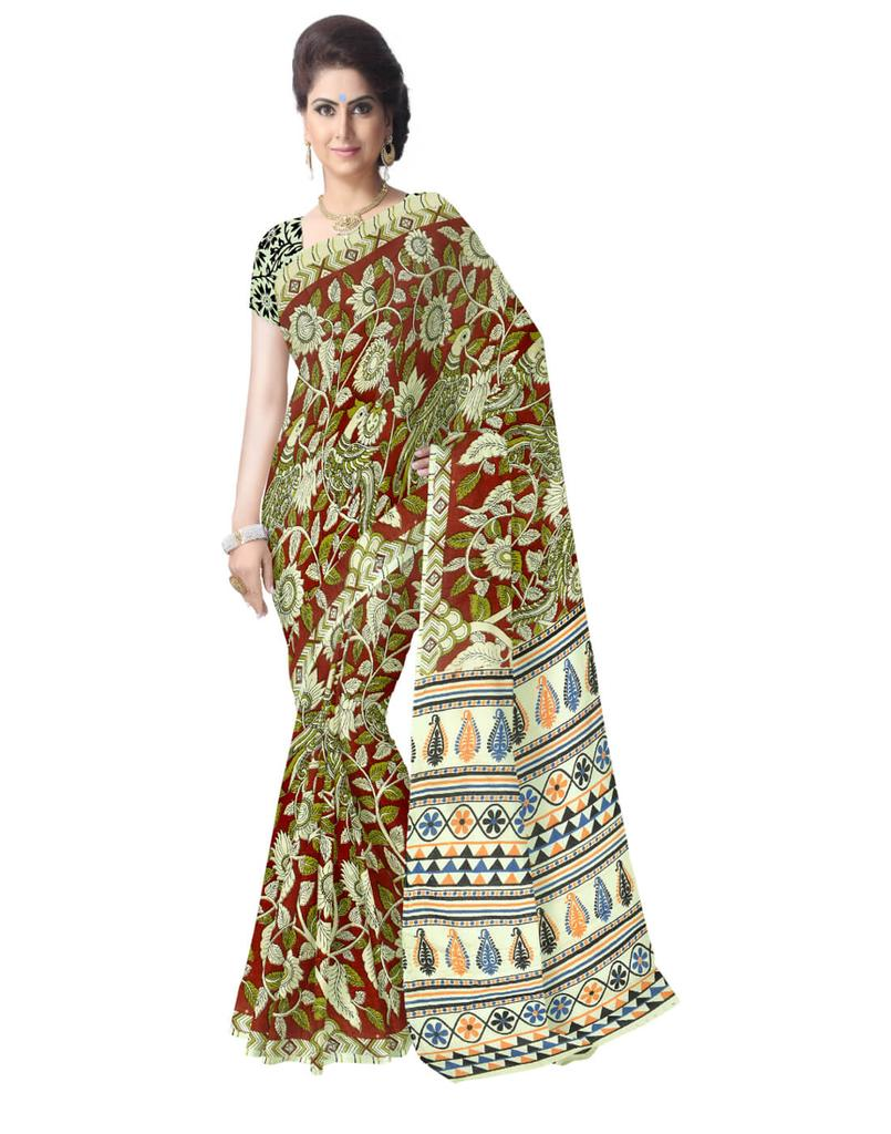 Kalamkari Saree in Cotton-Multicolor 6