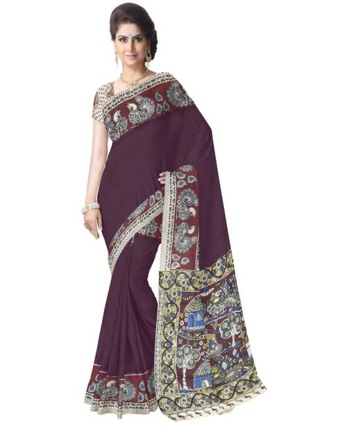 Kalamkari Silk Saree  -Dark Brown