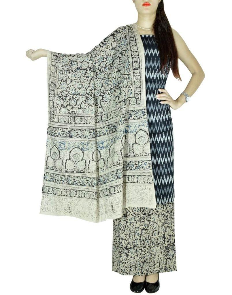 Ikat & Kalamkari Block Print Cotton Suit-Black&White
