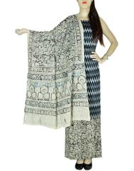 Ikat & Kalamkari Block Print Cotton Suit-Black&White