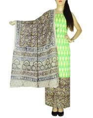 Ikat & Kalamkari Block Print Cotton Suit-Lime Green