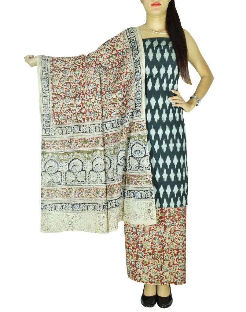 Ikat & Kalamkari Block Print Cotton Suit-Black&Red