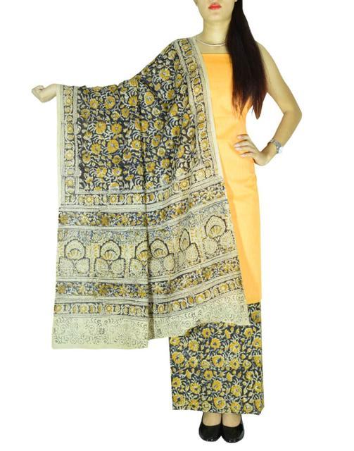 Kalamkari Block Print Cotton Suit-Yellow