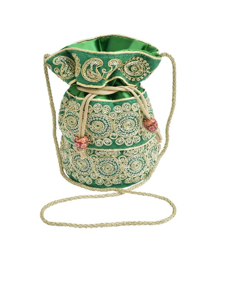 Potli Bag in Satin with Embroidery-Green