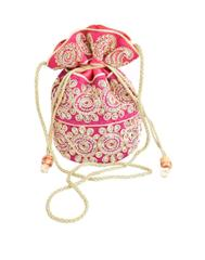Potli Bag in Satin with Embroidery-Pink
