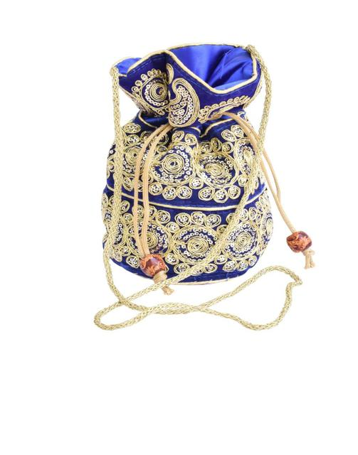 Potli Bag in Satin with Embroidery-Blue