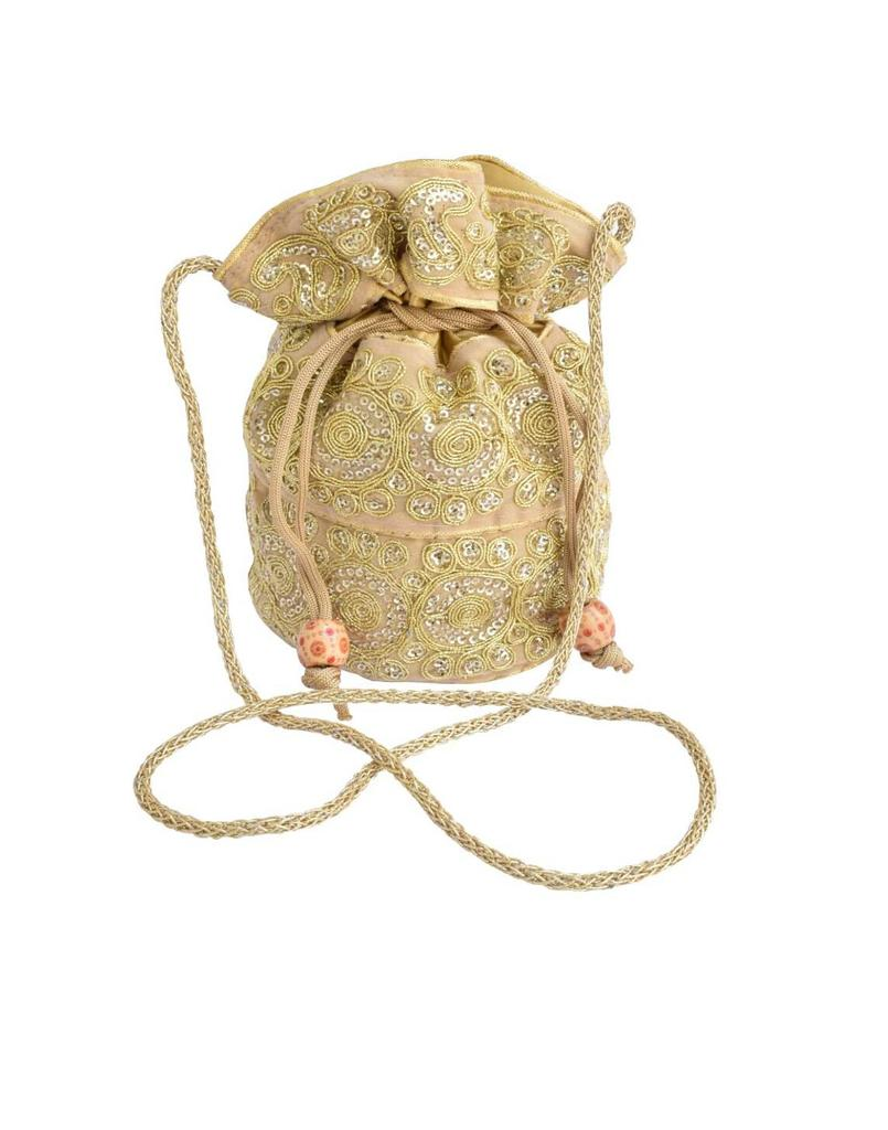 Potli Bag in Satin with Embroidery- Golden