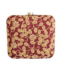 Square Box Clutch with Embroidery- Maroon