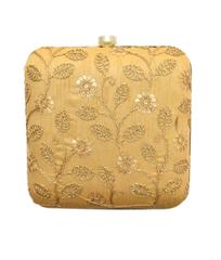 Square Box Clutch with Embroidery- Gold
