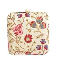 Square Box Clutch with Embroidery- Multicolor
