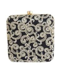 Square Box Clutch with Embroidery- Black