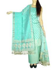 Benarasi Jamdani Brocade Suit in Silk-Cotton-Pattern