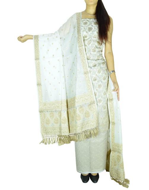 Benarasi Jamdani Brocade Suit in Silk-Cotton-White