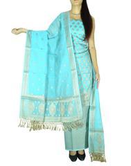 Benarasi Jamdani Brocade Suit in Silk-Cotton-Turquoise