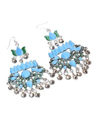 Meenakari Work Afghani Earrings in Alloy Metal- Green&Turquoise