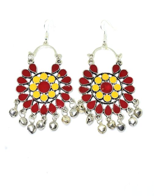 Meenakari Work Afghani Earrings in Alloy Metal- Red&Yellow