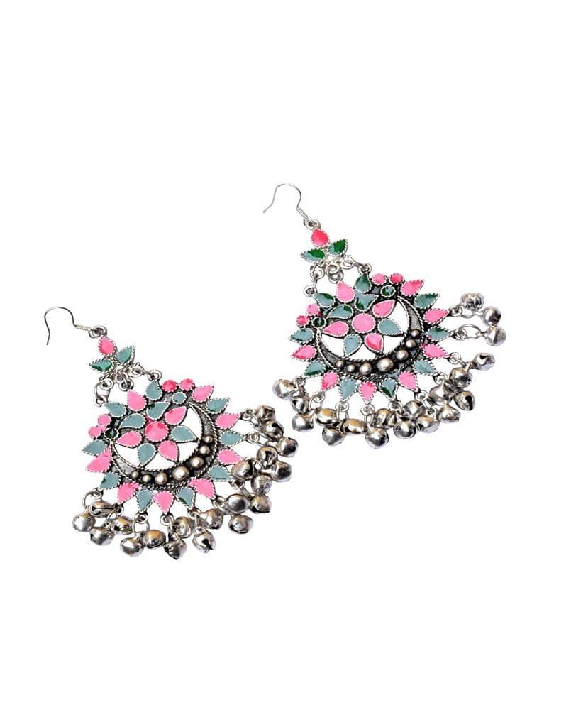 Meenakari Work Afghani Earrings in Alloy Metal- Green&Peach
