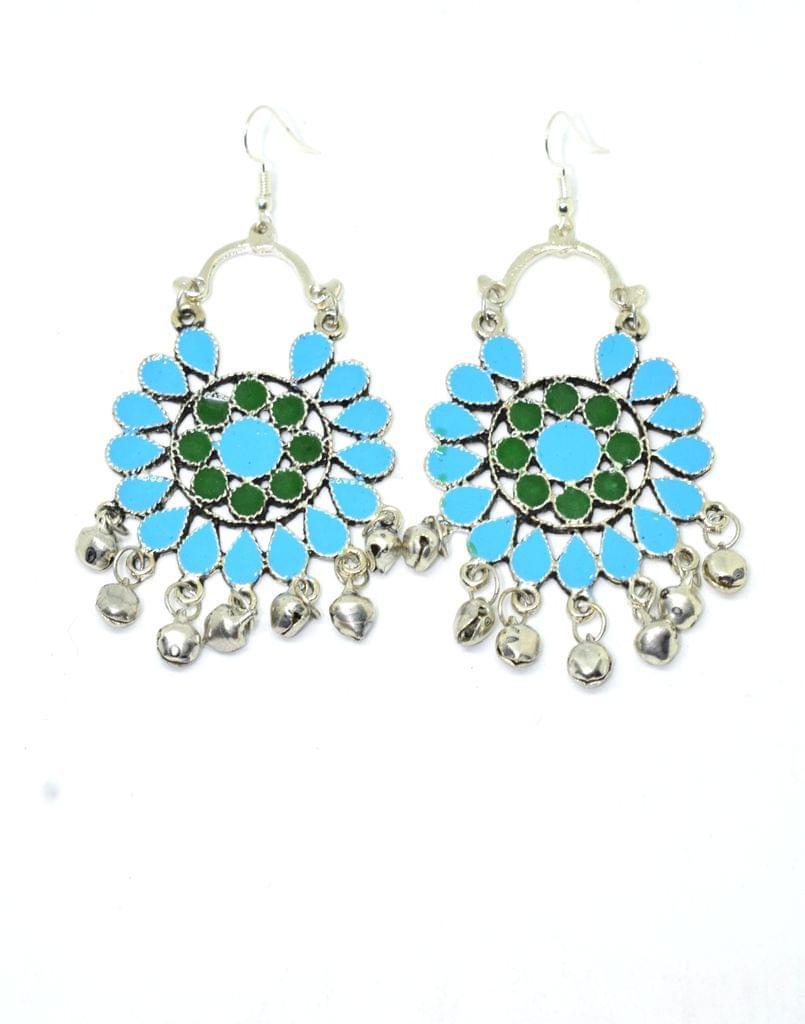 Meenakari Work Afghani Earrings in Alloy Metal- Green&Turquoise 2