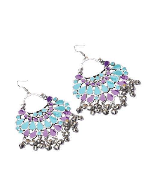 Meenakari Work Afghani Earrings in Alloy Metal- Purple&Turquoise