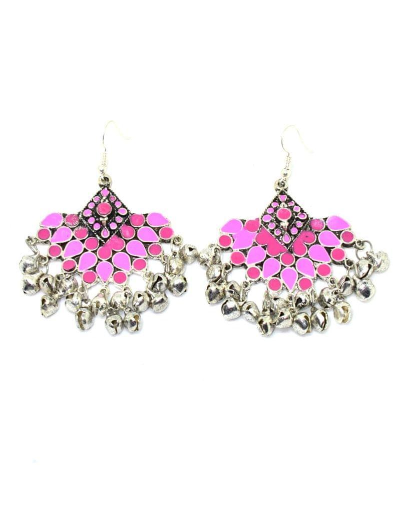 Meenakari Work Afghani Earrings in Alloy Metal- Pink