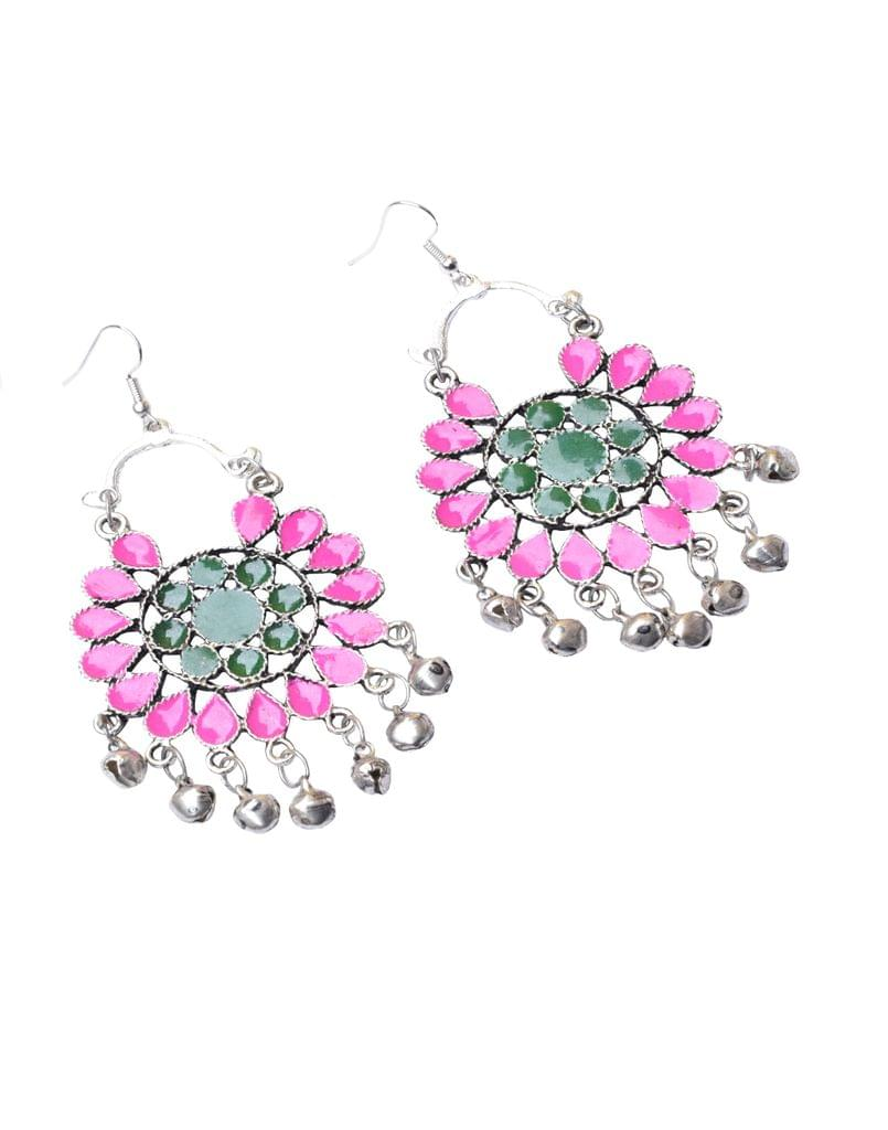 Meenakari Work Afghani Earrings in Alloy Metal- Pink&Green