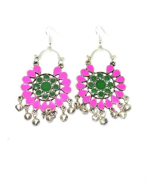 Meenakari Work Afghani Earrings in Alloy Metal- Pink&Green