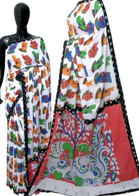 Kalamkari Saree in Mal Cotton with Istch Border- Mudra Pattern White
