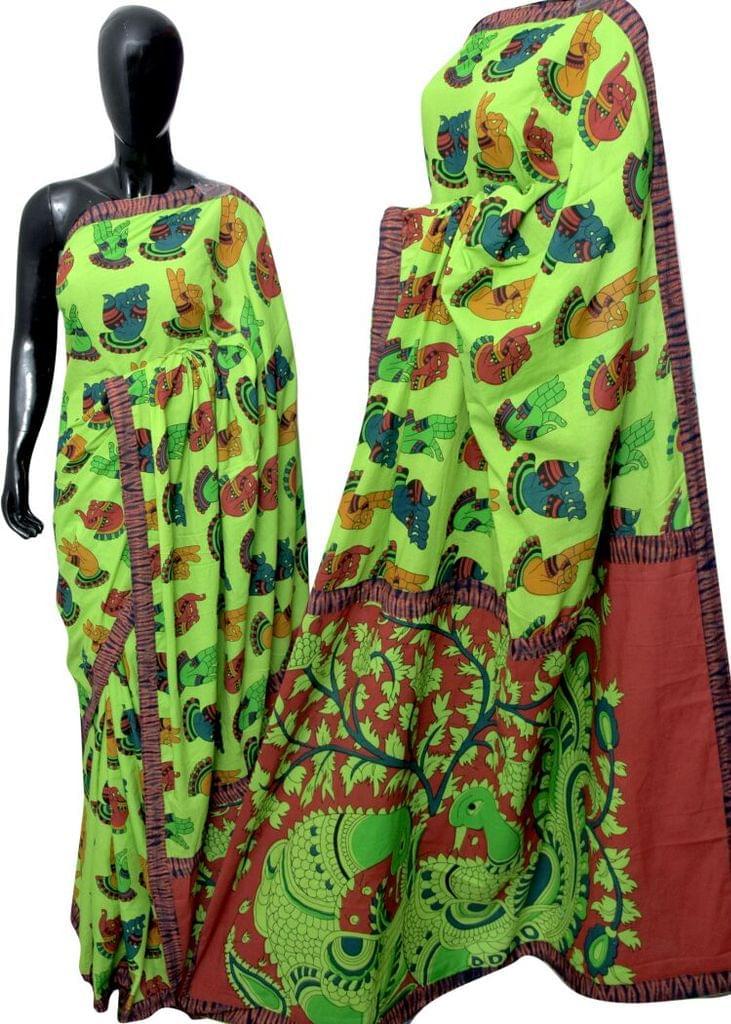 Kalamkari Saree in Mal Cotton with Istch Border- Mudra Pattern Green