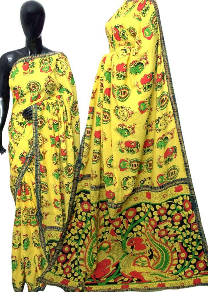 Kalamkari Saree in Mal Cotton with Istch Border- Mask Pattern Yellow