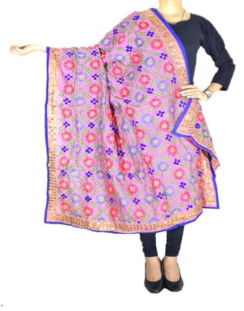 Phulkari Dupatta on Chanderi Fabric -Multicolor