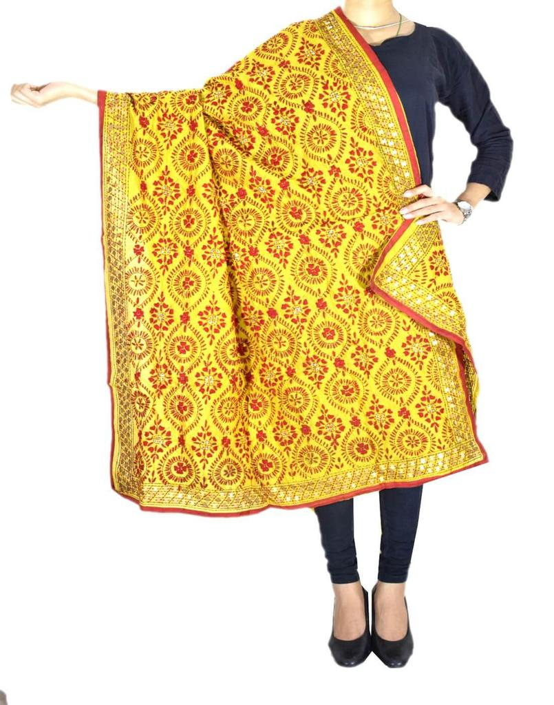 Phulkari Dupatta on Chanderi Fabric -Yellow&Rrd 1