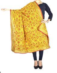 Phulkari Dupatta on Chanderi Fabric -Yellow&Rrd 1